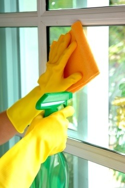 cleaning office windows for clean office building